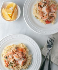Basil Shrimp with Lemon, Feta, and Orzo
