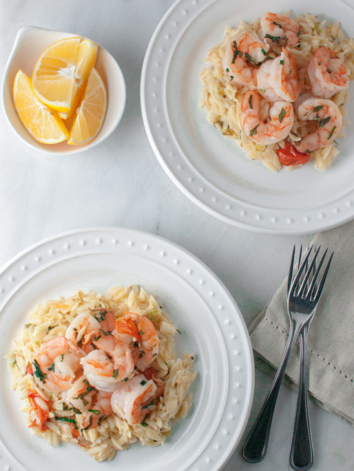 Basil Shrimp with Lemon, Feta, and Orzo | tamingofthespoon.com