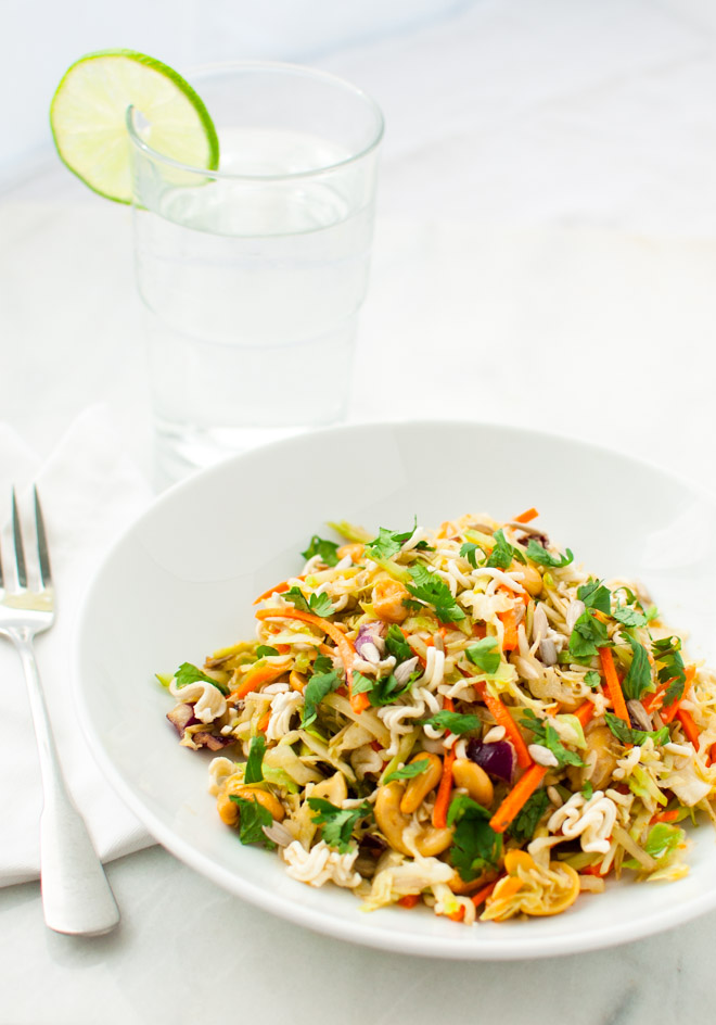 Crispy Asian Inspired Salad | tamingofthespoon.com
