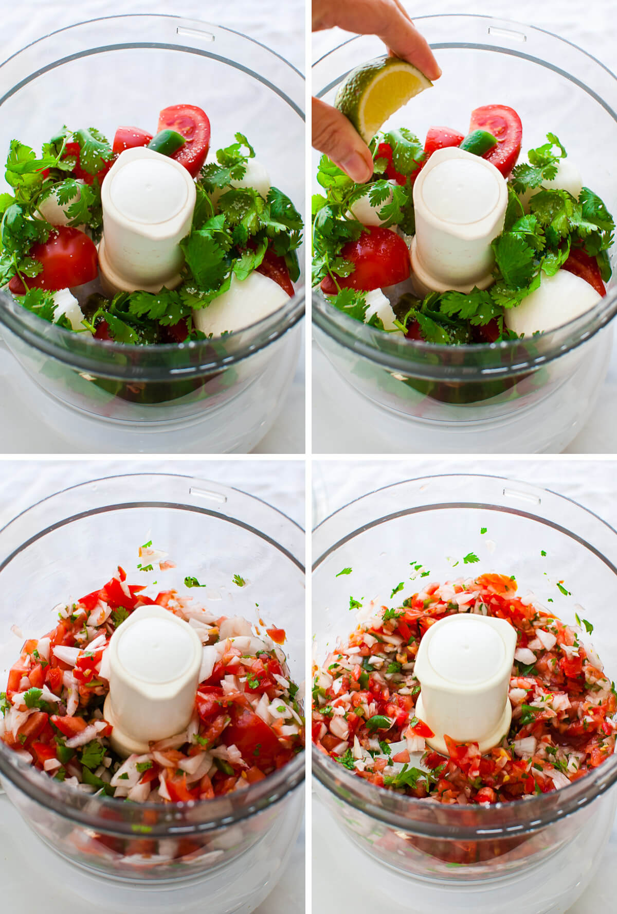 Collage of photos showing how to make pico de gallo in a food processor.