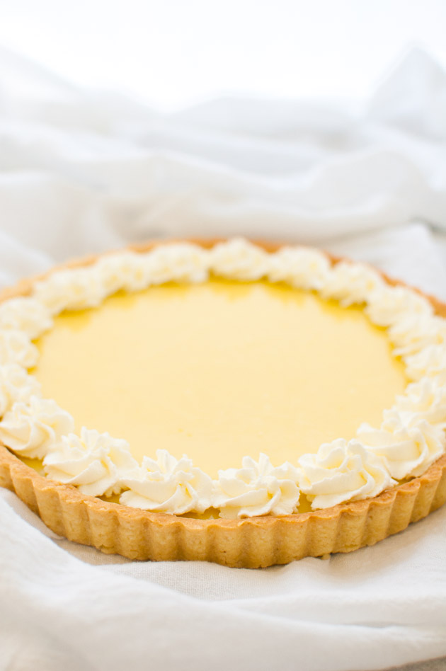 Classic lemon tart with a lemon curd filling in a buttery tart shell ...