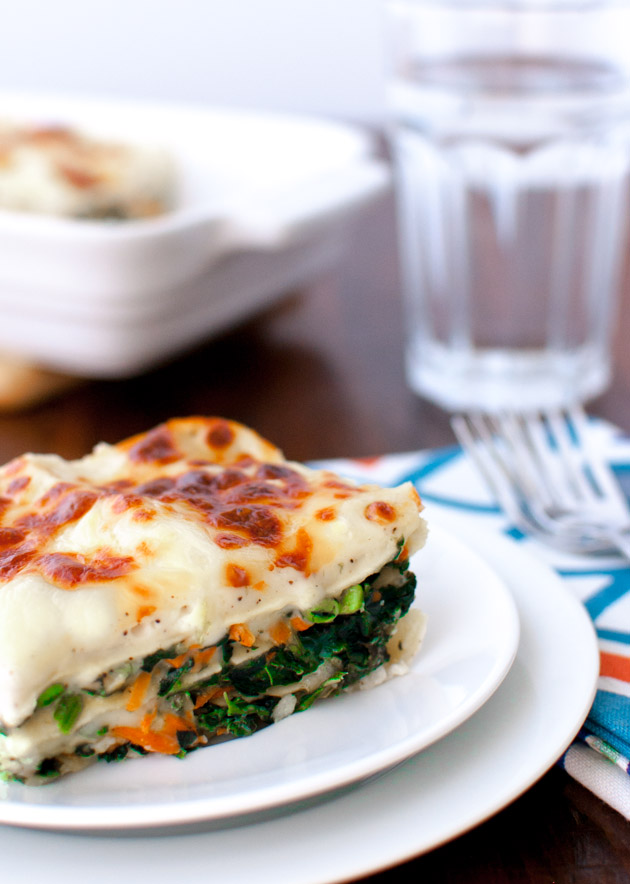 Vegetable Alfredo Lasagna - Healthy vegetables tucked under layers of melted cheese, creamy béchamel sauce, and pasta. | tamingofthespoon.com