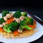 Chicken Vegetable Stir-fry with Crispy Noodles | tamingofthespoon.com