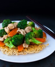 Chicken and Vegetable Stir-fry with Crispy Noodles