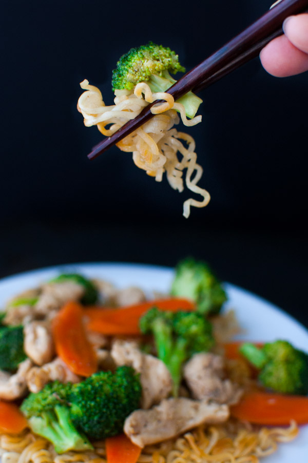 Chicken and Vegetable Stir-fry with Crispy Noodles  | tamingofthespoon.com