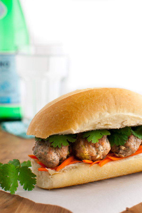 Meatball Banh Mi Sandwich | tamingofthespoon.com