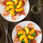 Warm Peach and Prosciutto Salad   tamingofthespoon.com