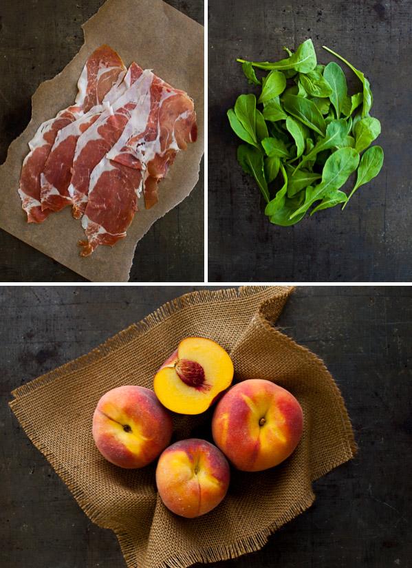 Warm Peach and Prosciutto Salad | tamingofthespoon.com