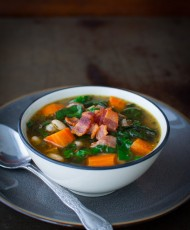 Swiss Chard Soup with White Beans, Bacon, and Sausage