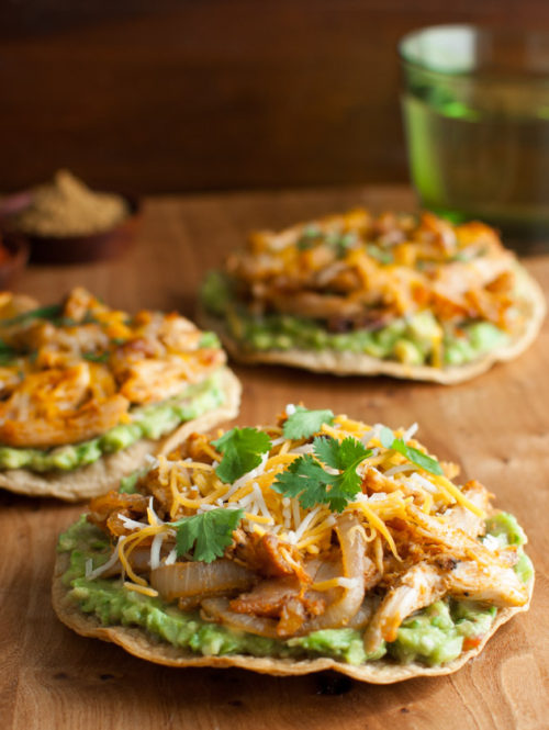 Cumin and Paprika Spiced Chicken Tostadas