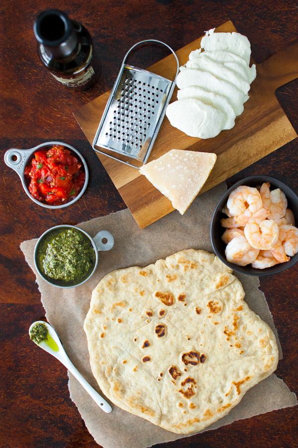 Grilled PIzza with Shrimp | tamingofthespoon.com