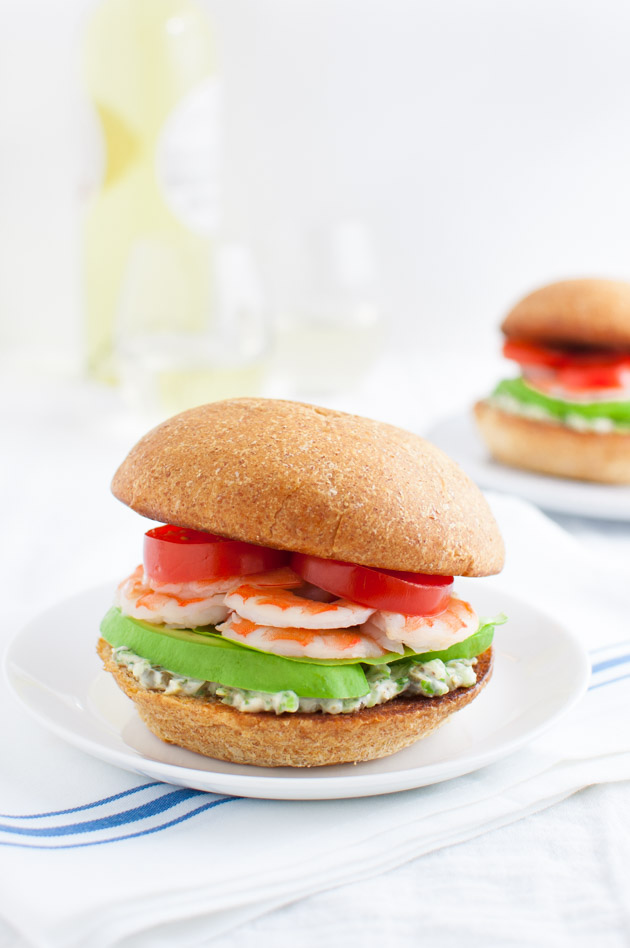 Shrimp Sandwiches with Tarragon-Caper Mayonnaise - Tarragon, capers, celery and a dash of hot sauce in the mayonnaise spread make a simple shrimp sandwich extraordinary. | tamingofthespoon.com