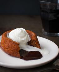 Molten Chocolate and Dulce de Leche Cake