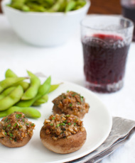 Cheddar Stuffed Mushrooms {and holiday party tips}