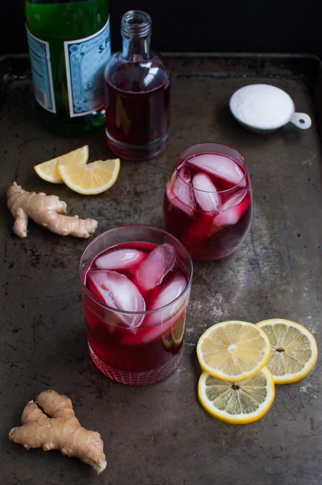 Hibiscus Tea Ginger Lemon Spritzer | tamingofthespoon.com