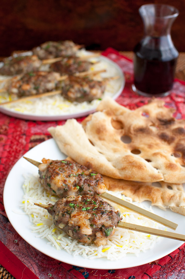 Lamb, shrimp and persian inspired seasonings come together to make really flavorful kebabs from tamingofthespoon.com