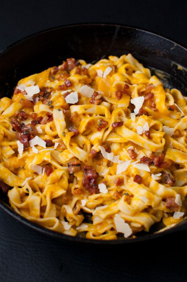 Butternut squash gets puréed into a creamy sauce for your favorite pasta. No cream needed. Fried pancetta and sage add extra flavor. | tamingofthespoon.com