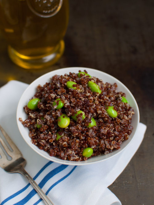 Red Quinoa and Edamame | tamingofthespoon.com