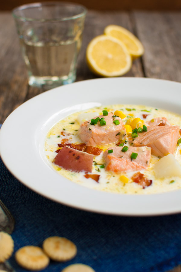 Salmon Chowder - a creamy soup with salmon, corn and potatoes seasoned with fresh thyme, garlic, and a touch of fresh lemon juice from tamingofthespoon.com