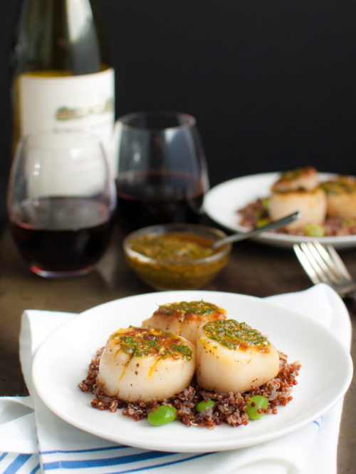 Scallops and Chermoula Sauce | tamingofthespoon.com