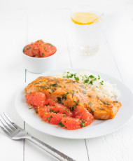 Salmon with Moroccan Grapefruit Chermoula