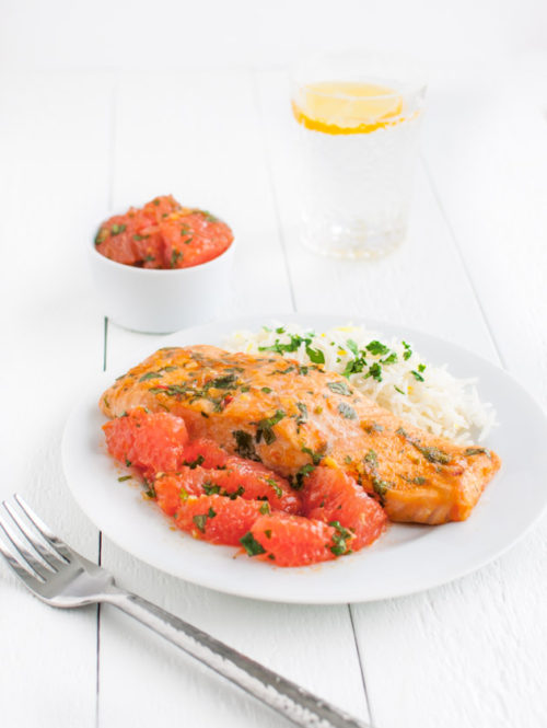 Salmon and Grapefruit Chermoula | tamingofthespoon.com