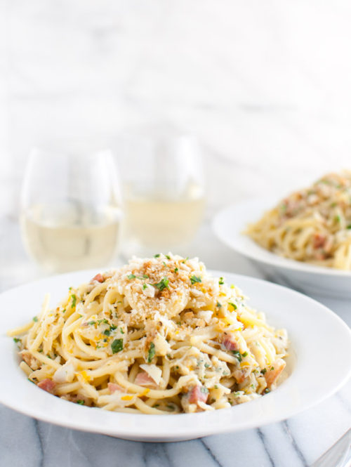 Spaghetti Carbonara with Crab and Meyer Lemon | tamingofthespoon.com