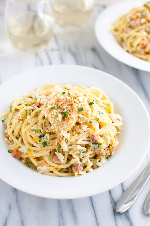 Spaghetti Carbonara with Crab and Meyer Lemon - Meyer lemons and crab add a new twist to classic pasta carbonara. | tamingofthespoon.com