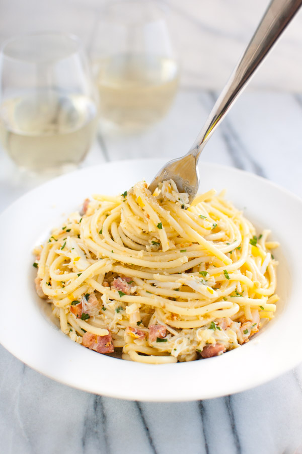 Spaghetti Carbonara with Crab and Meyer Lemon - Meyer lemons and crab ...