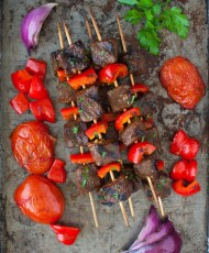 Beef {or Lamb} Kebabs with Pomegranate Glaze
