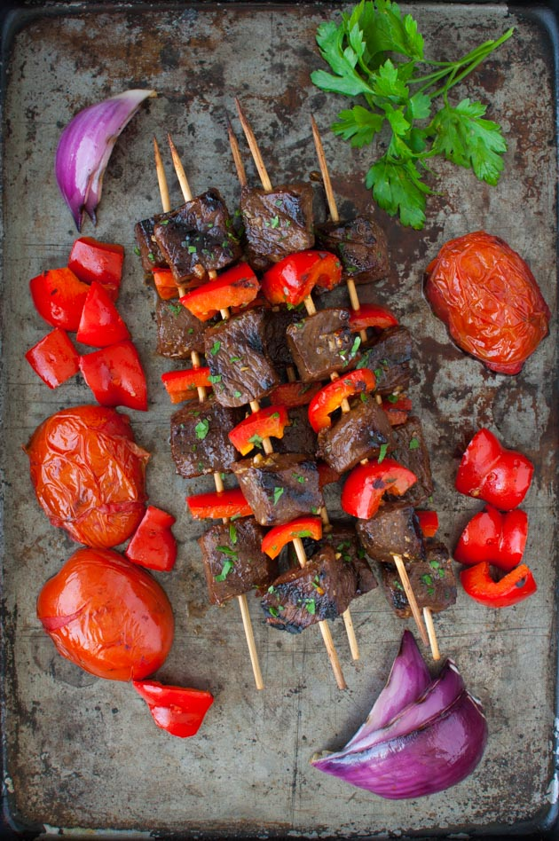Kebabs with Pomegranate Glaze - made with beef or lamb, these delicious kebabs have a sweet tart glaze made with pomegranate molasses from tamingofthespoon.com