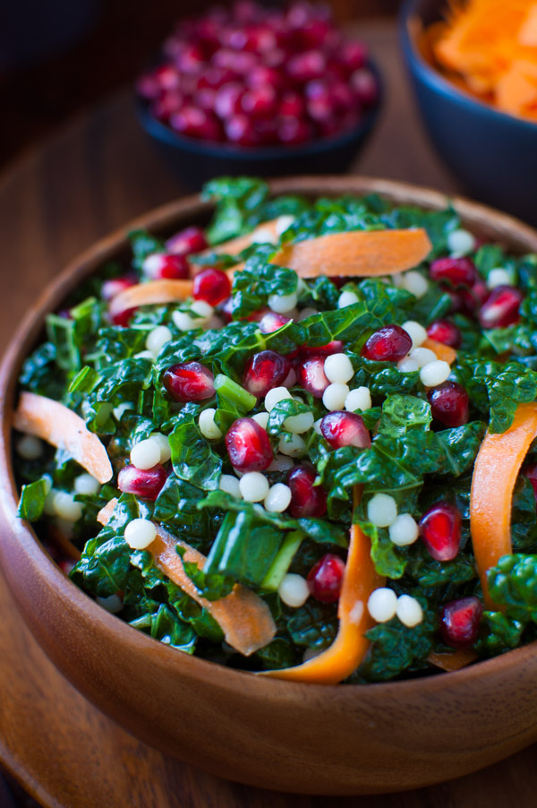 Pomegranate, Israeli Couscous, Carrot and Kale Salad with Honey-Lime ...
