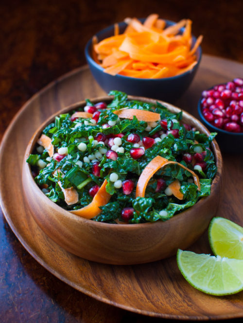 Pomegranate, Israeli Couscous, Carrot and Kale Salad with Honey-Lime Vinaigrette