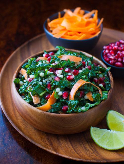 Pomegranate, Israeli Couscous, Kale Salad | tamingofthespoon.com