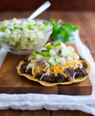Black Bean Tostadas with Green Apple Salsa