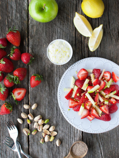 Cardamom Spiced Strawberry and Apple Salad with Lemon Cream