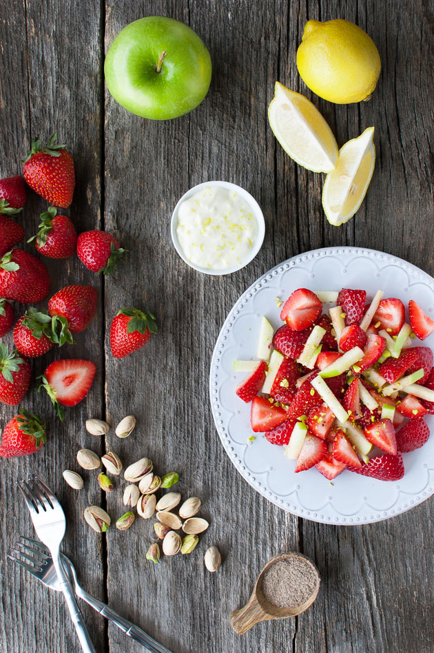 Cardamom Spiced Strawberry and Apple Salad with Lemon Cream | tamingofthespoon.com