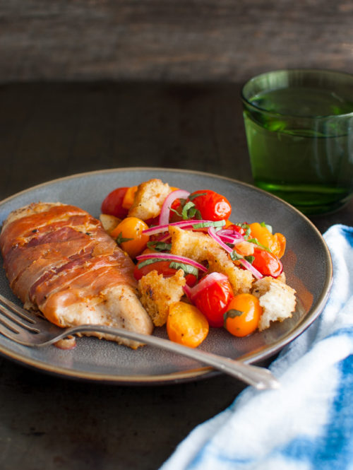 Prosciutto Wrapped Chicken Cutlets with Cherry Tomato Panzanella