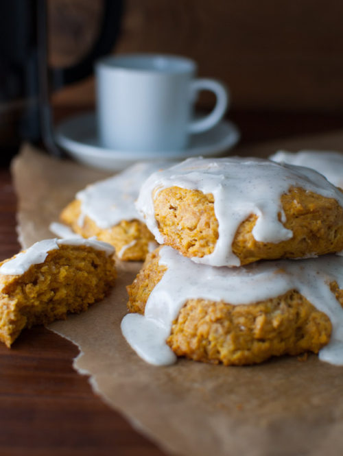 Lazy Morning Pumpkin Scones with Vanilla Glaze