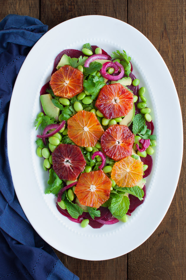 Beet, Avocado, Edamame, and Blood Orange Salad - A power salad that is not only colorful but super healthy with beets, avocado, edamame and oranges. | tamingofthespoon.com