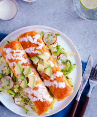 Shrimp Enchiladas with Napa Slaw