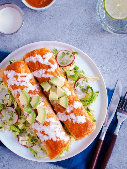 Shrimp Enchiladas with Napa Slaw