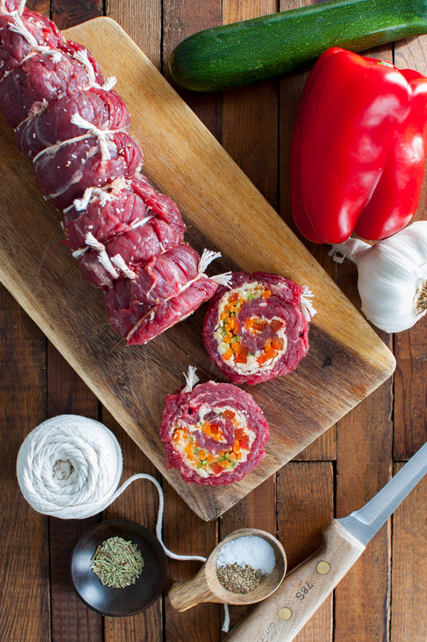 Vegetable Stuffed Steak Rolls with Balsamic Glaze - These steak pinwheels stuffed with carrots, zucchini, bell peppers, and Parmesan are flavorful and elegant yet are surprisingly easy to make. | tamingofthespoon.com