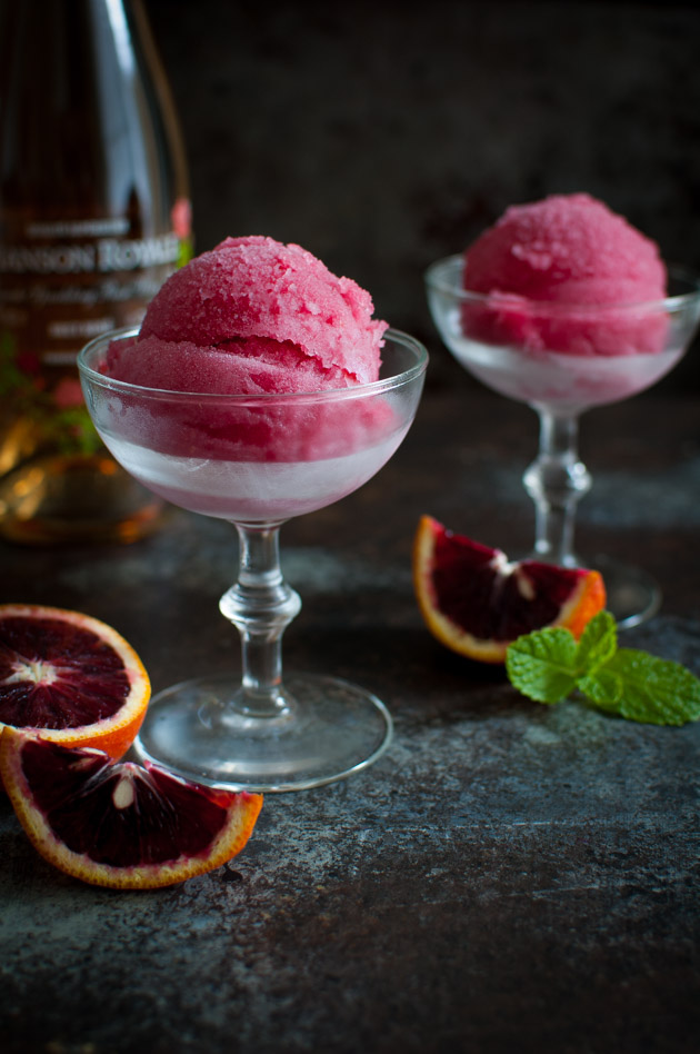 Blood Orange Mimosa Sorbet - if you love mimosas, you'll love this sorbet. Blood oranges add beautiful color. | tamingofthespoon.com