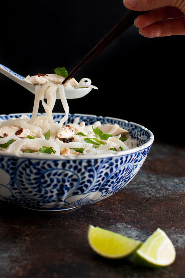 Bowl of chicken pho with a spoonful of noodles and chicken.