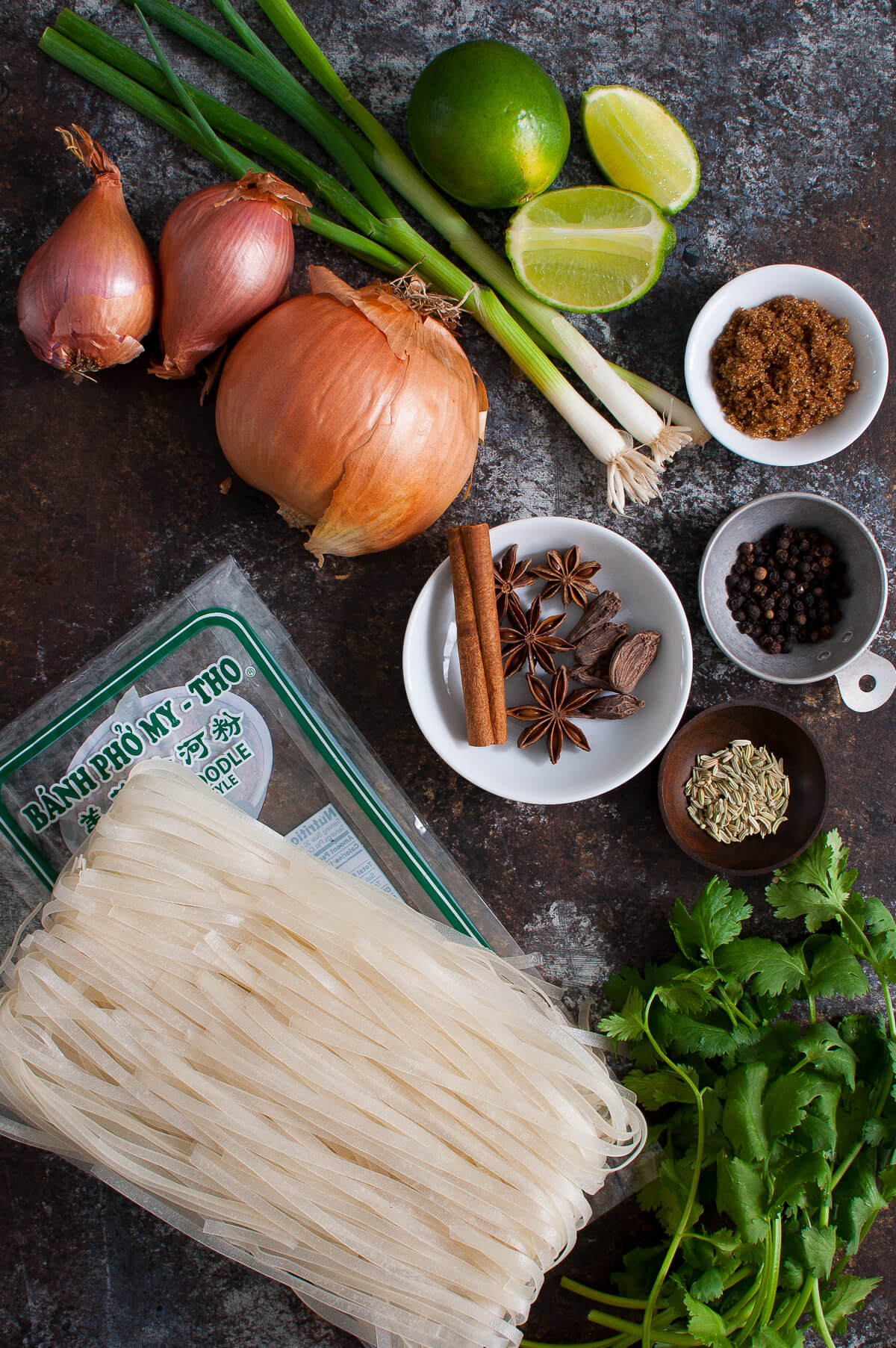 Ingredients for making chicken pho.
