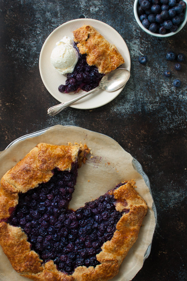 Blueberry Galette - Enjoy blueberry season with this rustic, free-form blueberry tart. Perfect with a scoop of vanilla ice-cream. | tamingofthespoon.com