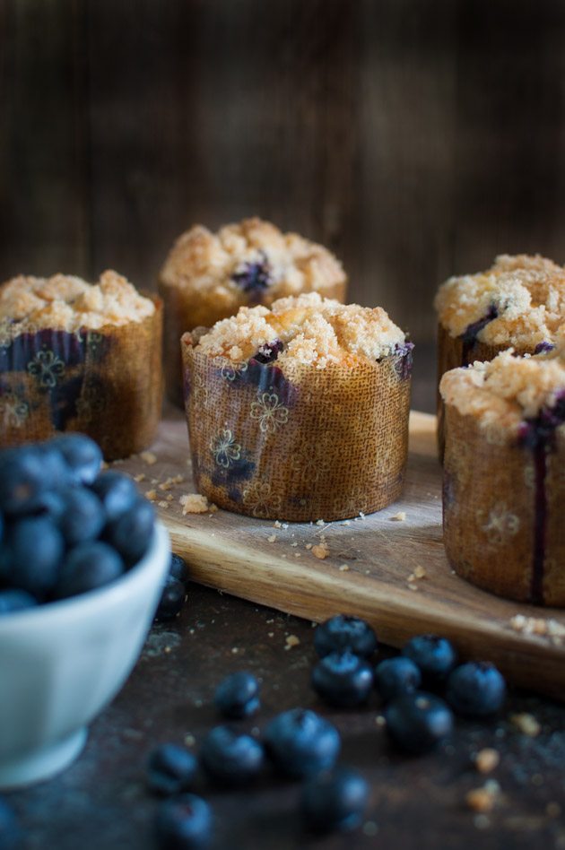 Double Streusel Blueberry Muffins - Bakery style blueberry muffins loaded with fresh blueberries and an extra generous portion of streusel. | tamingofthespoon.com