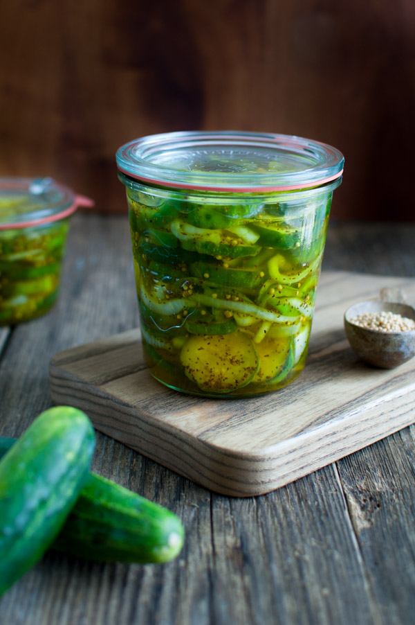 Bread and Butter Pickles - These crunchy pickles are the perfect balance of sweet and tangy. This recipe makes a small batch that will keep in the refrigerator for 3 weeks. | tamingofthespoon.com