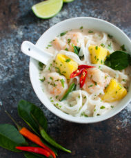 Thai Shrimp Soup with Noodles and Pineapple